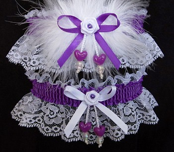 Double Hearts Prom Garter SET in Purple on White Lace