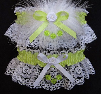 Faceted Beads Prom Garter SET in Pistachio on White Lace