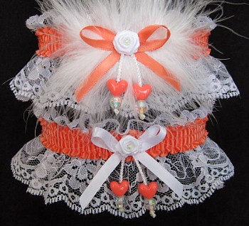 Double Hearts Prom Garter SET in Cantaloupe on White Lace