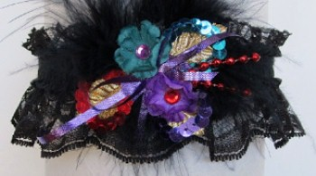 Garter Red Teal Purple Tri-A w/Feathers on Black Lace