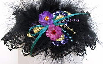 Garter Purple Teal Pink Tri-B w/Feathers on Black Lace