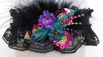 Garter Fuchsia Teal Purple Tri-c w/Feathers on Black Lace