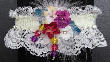 Prom Garter Purple Wine Teal Gold on Ivory Lace