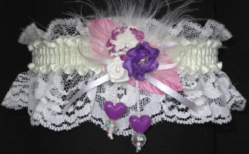 Prom Garter Purple Pink Ivory on Ivory Lace