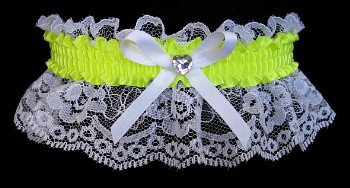 Neon Yellow Rhinestone Garter for Prom Wedding Bridal on White Lace