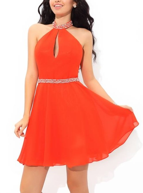 Short Orange Dress for Homecoming Dance