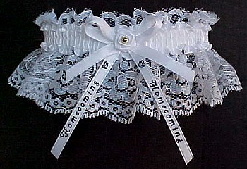 Homecoming Garter Special in white lace with Imprinted Homecoming Ribbon Tails. Personalized Homecoming Garters in Your School Colors. garders, garder
