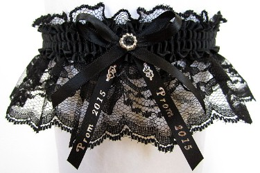 2015 Prom Garter Special on black lace with Prom 2015 ribbon tails. Prom garter tradition. Prom garters online. garder, garders