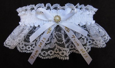 2015 Prom Garter Special on white lace with Prom 2015 imprinted ribbon tails. Prom garter tradition. Prom garters online. garder, garders