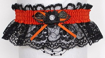 Prom Garter Feature on black lace NO Marabou feathers. Prom Garter tradition. garder, garders