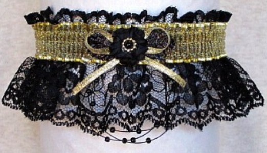 Totally Glam Prom Garter Feature w/ Sheer Gold Metallic band & trim on black lace