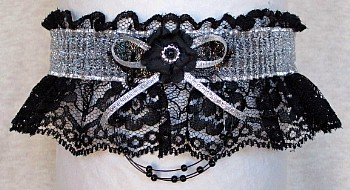 Totally Glam Garter Feature w/ Sheer Silver Metallic band & trim on black lace