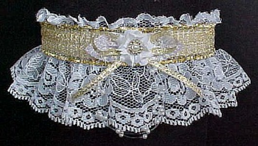 Totally Glam Metallic Gold and White Garter w/ Sheer Gold trim on white lace. garders