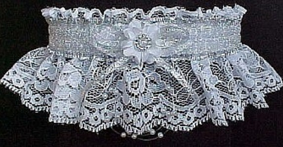 Totally Glam 2013 Prom Garter Feature w/ Sheer Silver Metallic band & trim on white lace. garder, garders