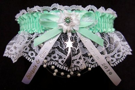 Personalized Prom Garter, Personalized Prom Ribbon Tails and Charm