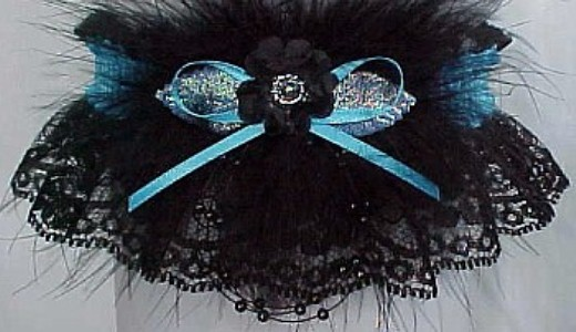 Prom Garter on black lace WITH Marabou feathers. Prom Garter tradition. garder, garders