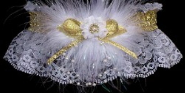 Glitzy Glitz Metallic Gold and White Garter w/ Shiny Gold trim and marabou feathers on white lace. garders