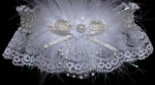 Glitzy Glitz Silver and White Garter w/ Shiny Silver Metallic trim and feathers on white lace for Prom Wedding Bridal.  garder