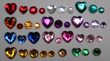 Rhinestone Colors in Hearts & Rounds