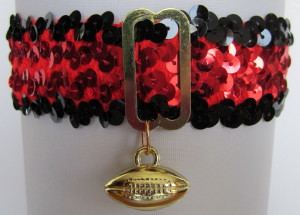 Sports Fan Bands Sequin Football Garter in Team Colors for Atlanta Falcons. Football Charm.
