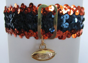 Sports Fan Bands Sequin Football Garter in Team Colors for Chicago Bears. Football Charm.