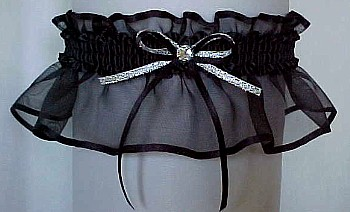 Black Sheer Bridal Garter - Wedding Garter - Prom Garter - Fashion Garter. garders, garder