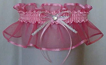 Pink Sheer Bridal Garter - Wedding Garter - Prom Garter - Fashion Garter. garders, garder