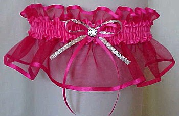 Shocking Pink Sheer Bridal Garter - Wedding Garter - Prom Garter - Fashion Garter. garders, garder