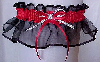 Black & Red Sheer Bridal Garter - Wedding Garter - Prom Garter - Fashion Garter. garders, garder
