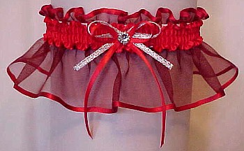 Red Sheer Bridal Garter - Wedding Garter - Prom Garter - Fashion Garter. garders, garder