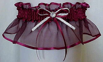Burgundy Sheer Bridal Garter - Wedding Garter - Prom Garter - Fashion Garter. garders, garder