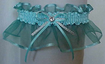 Aqua Sheer Bridal Garter - Wedding Garter - Prom Garter - Fashion Garter. garders, garder