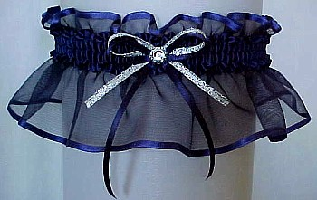 Navy Blue Sheer Bridal Garter - Wedding Garter - Prom Garter - Fashion Garter. garders, garder