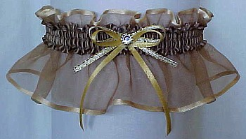 Tarnished Gold Sheer Bridal Garter - Wedding Garter - Prom Garter - Fashion Garter. garders, garder