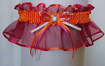 Orange Azalea Sheer Bridal Garter - Wedding Garter - Prom Garter - Fashion Garter. garders, garder