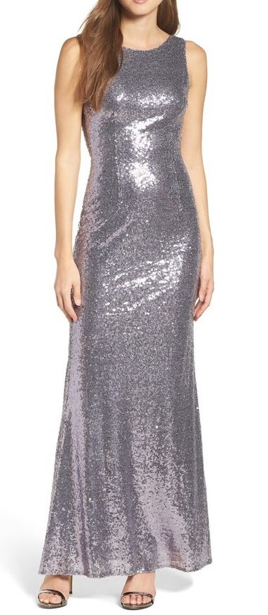 Metallic Silver Prom Dress