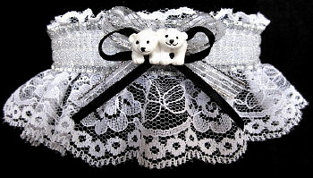Cola Twin Polar Bear Cubs Garter for Prom