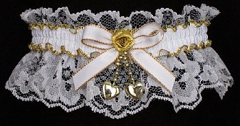 Fancy Bands™ White & Gold Garters with 2 Gold Hearts. Prom garter Tradition - Prom Garter - Wedding Garter - Bridal Garter