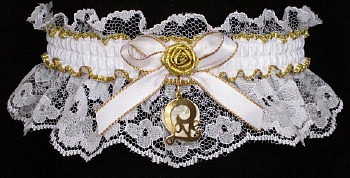 Fancy Bands™ White & Gold Garters with Love Script Charm. Prom garter Tradition - Prom Garter - Wedding Garter - Bridal Garter
