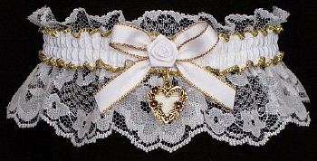 Fancy Bands™ White & Gold Garters with Gold Open Heart Charm. Prom garter Tradition - Prom Garter - Wedding Garter - Bridal Garter