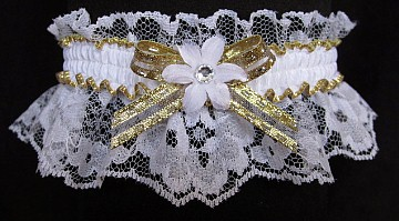 White Gold Garter with Rhinestone