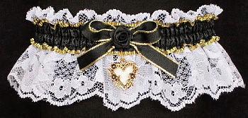 Fancy Bands™ Black and White Garter with Gold Open Heart Charm. Prom Garter - Wedding Garter - Bridal Garter
