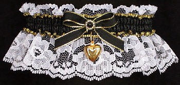 Fancy Bands™ Black and White Garter with Gold Puffed Heart Charm. Prom Garter - Wedding Garter - Bridal Garter