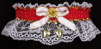 Red & Gold Valentine Garter w/ 2 Hearts on White Lace