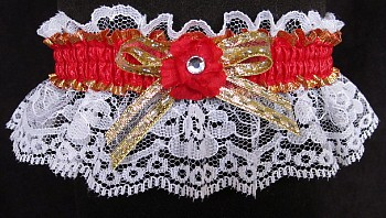 Hot Red Gold White Garter with Rhinestone