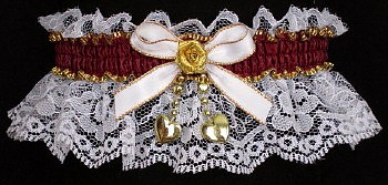 Burgundy Wine Garters on White Lace. Fancy Bands™ White Burgundy Gold Garters with 2 Gold Hearts. Prom Wedding Bridal Valentine