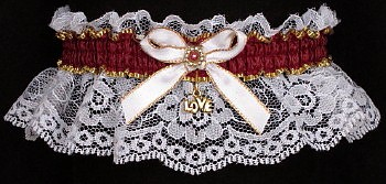 Burgundy Wine Garters on White Lace. Fancy Bands™ White Gold Burgundy Garters with Gold Love Charm. Prom Wedding Bridal Valentine