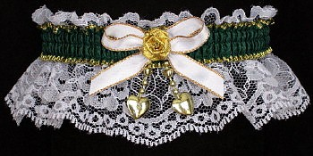 Fancy Bands™ Forest Green Garter on White Lace w/ 2 Gold Hearts for Wedding Bridal Prom.