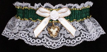Fancy Bands™ Forest Green Garter on White Lace w/ Gold Open Heart Charm for Wedding Bridal Prom