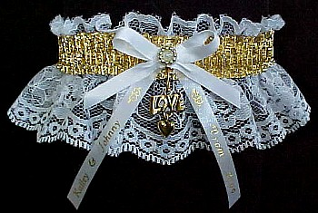 SHINY Gold Metallic Band on White Lace. Glitzy Glitz Metallic Prom Garters.